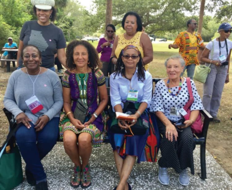 Authors Enjoying A Bench by Road, Charlotte, South Carolina